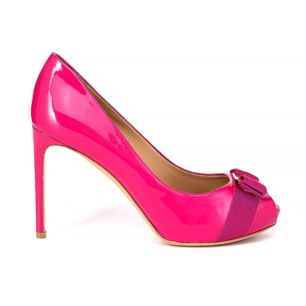 d5c3ac835017 Salvatore Ferragamo Leather Peep-Toe Heels