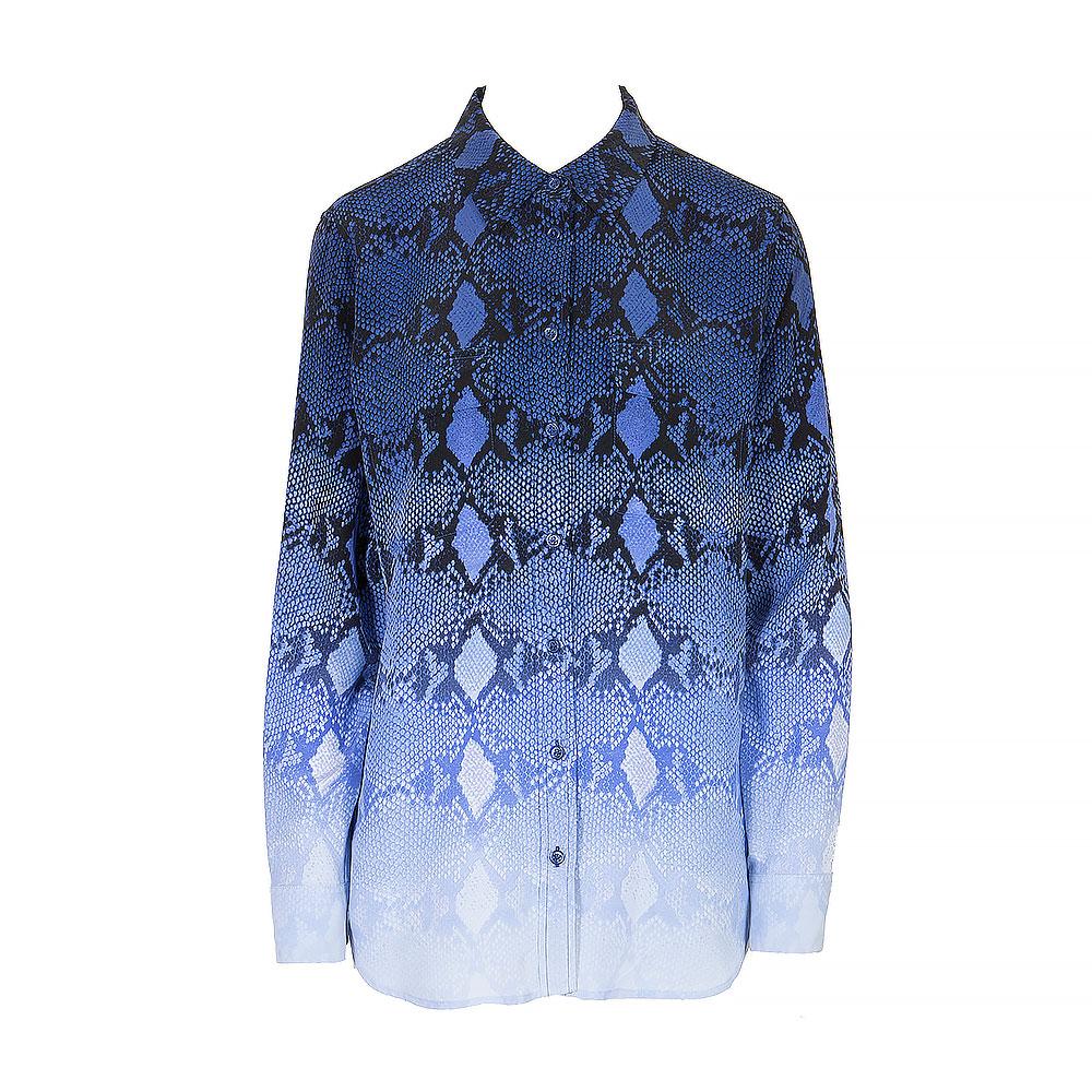 Equipment Blue Silk Long Sleeve Shirt