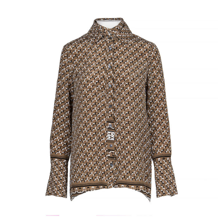 Derek Lam Brown, Black And White Long Sleeve Silk Shirt