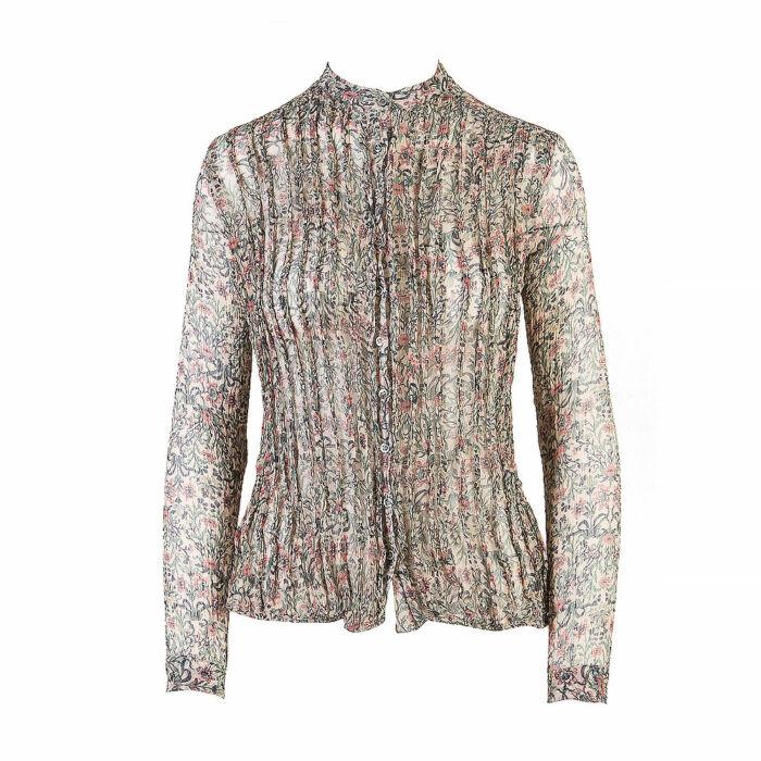 Paul & Joe Long Sleeve Semi-Sheer Crepe Silk Shirt