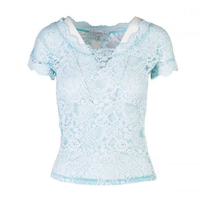 Etincelle Short Sleeve Semi-Sheer Lace Top