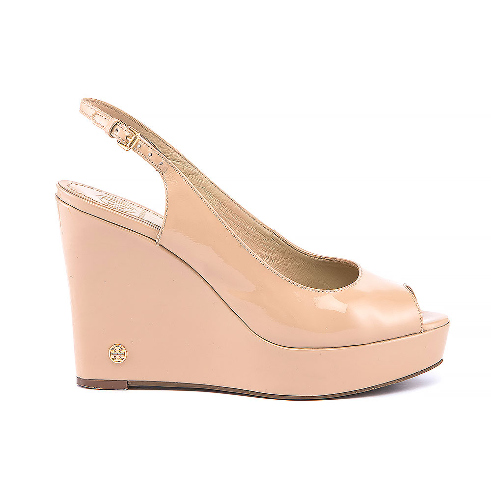 b933e579ca2a8 Tory Burch Nude Patent Leather Peep Toe Wedges