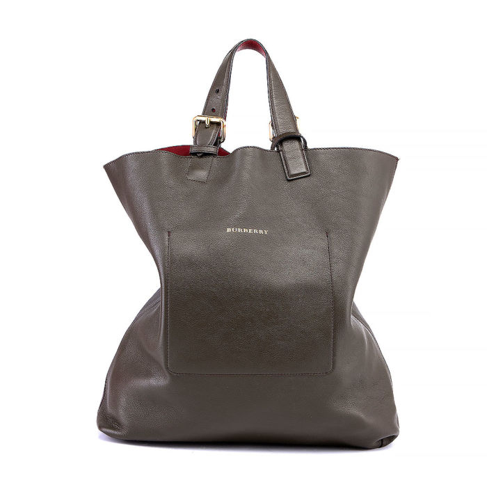 Burberry Tote Bag With Burgundy Leather Lining