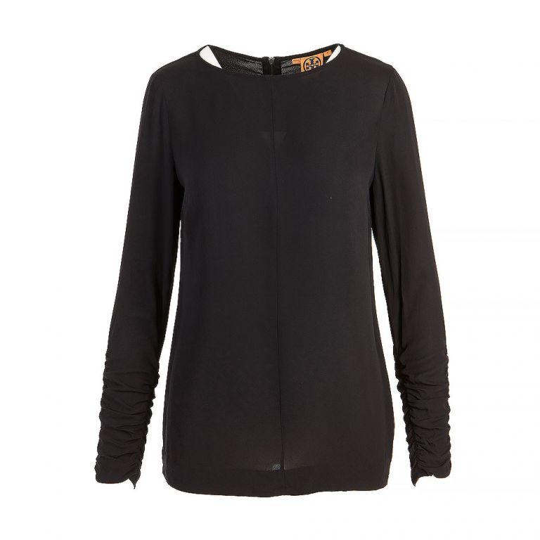 Tory Burch Black Silk Long Sleeve Top