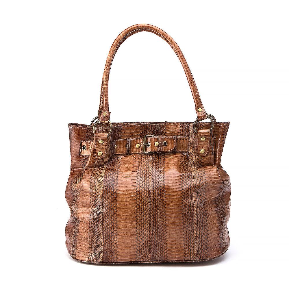 No Brand Brown Snakeskin Shoulder Bucket Bag