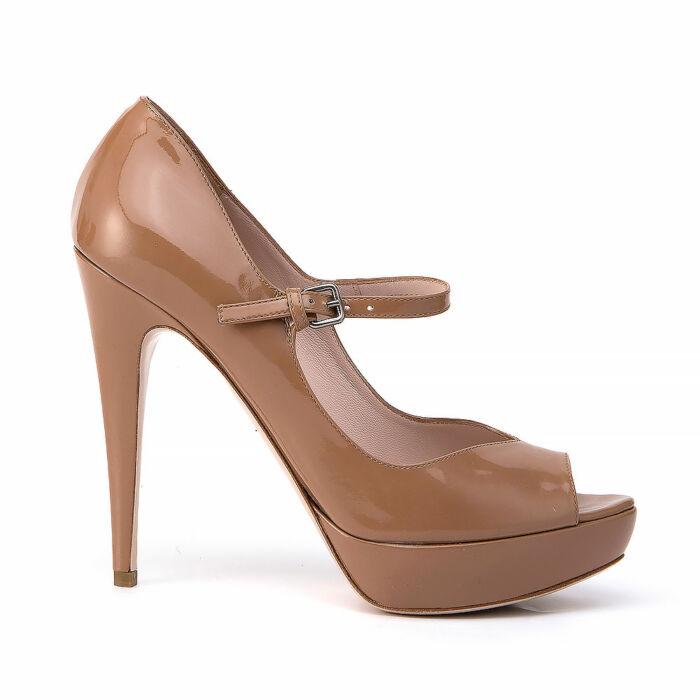 Miu Miu Tan Patent Leather Peep Toe