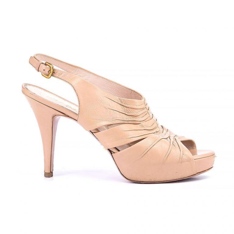 Prada Peep Toe Slingback Sandals
