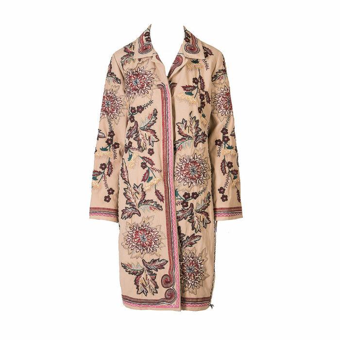 Biya Silk Linen Mid Length Coat